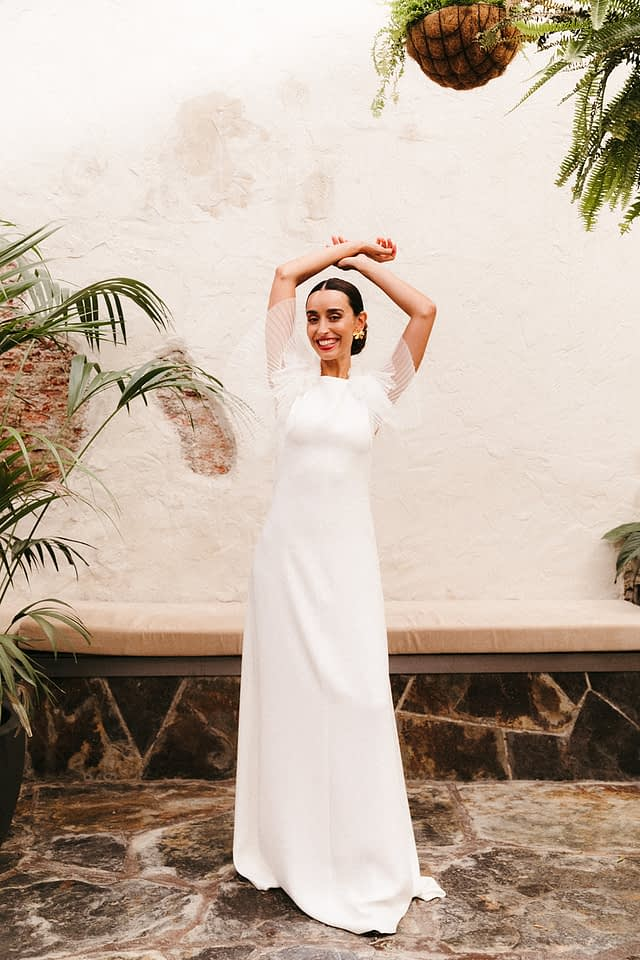 mangas de tul novia modelo caribe