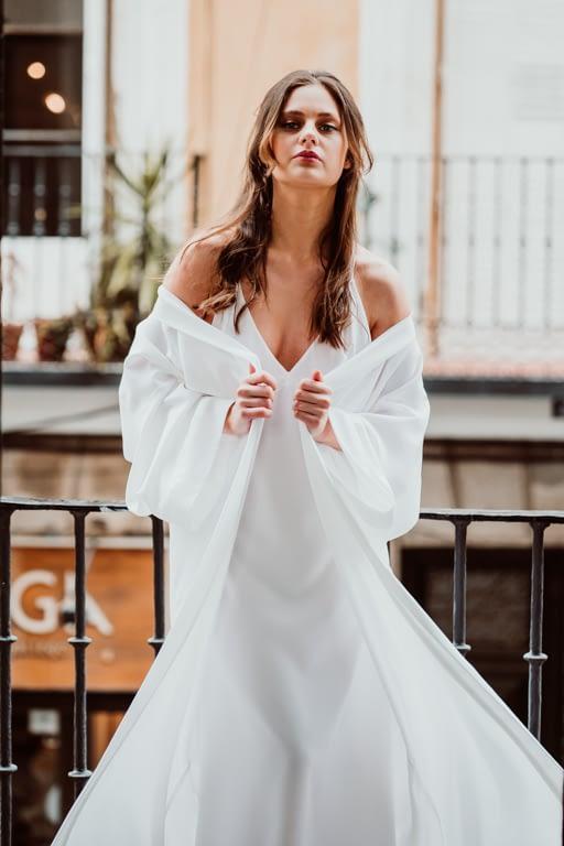 camisón largo y bata novia tipo kimono