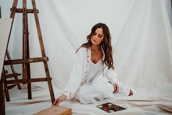 kimono y camisón de novia