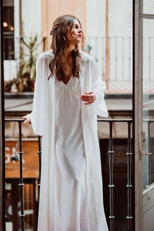 camisón largo de novia bata kimono novia